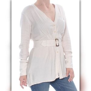 Free People Womens Ivory Belted Long Sleeve